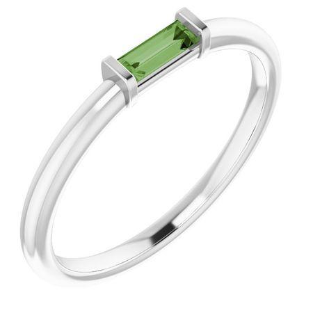 Pink Tourmaline Ring in 14 Karat White Gold Green Tourmaline Stackable Ring