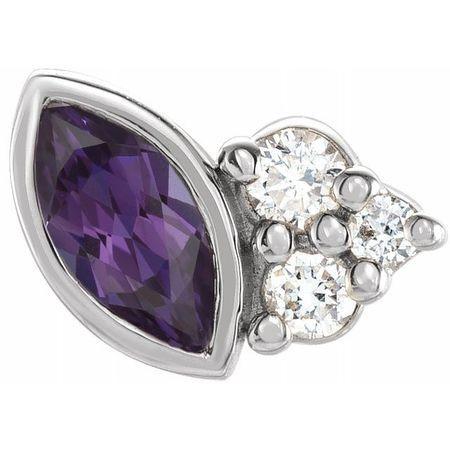 14 Karat White Gold Grown Alexandrite & .03 Carat Weight Diamond Left Earring