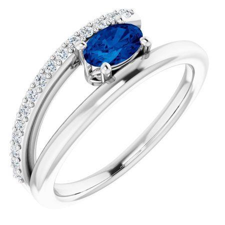 14 Karat White Gold Grown Blue Sapphire & .125 Carat Weight Diamond Ring