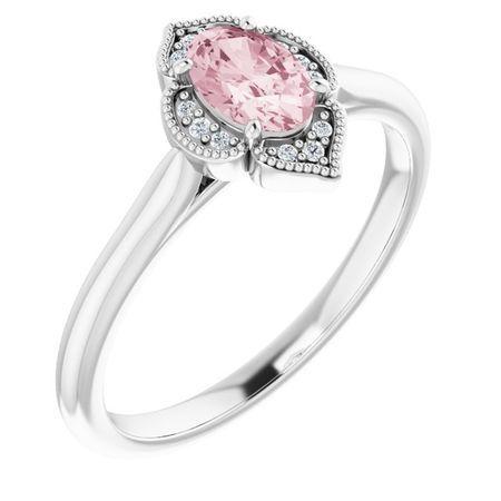 Pink Morganite Ring in 14 Karat White Gold Morganite & .03 Carat Diamond Ring