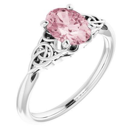 Pink Morganite Ring in 14 Karat White Gold Morganite Celtic-Inspired Ring