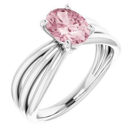 Pink Morganite Ring in 14 Karat White Gold Morganite Ring