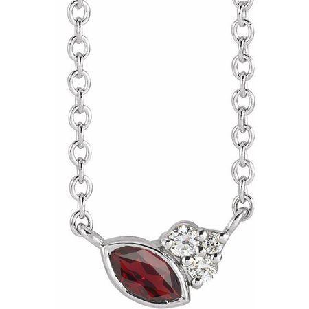 Red Garnet Necklace in 14 Karat White Gold Mozambique Garnet & .03 Carat Diamond 16