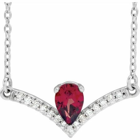 Red Garnet Necklace in 14 Karat White Gold Mozambique Garnet & .06 Carat Diamond 16