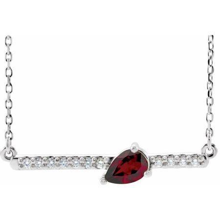 Red Garnet Necklace in 14 Karat White Gold Mozambique Garnet & 1/10 Carat Diamond 18