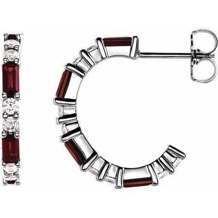 Red Garnet Earrings in 14 Karat White Gold Mozambique Garnet & 1/2 Carat Diamond Earrings