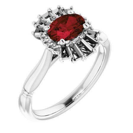 Red Garnet Ring in 14 Karat White Gold Mozambique Garnet & 1/4 Carat Diamond Ring