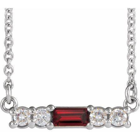 Red Garnet Necklace in 14 Karat White Gold Mozambique Garnet & 1/5 Carat Diamond 18