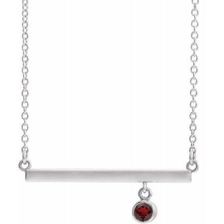 Red Garnet Necklace in 14 Karat White Gold Mozambique Garnet Bezel-Set 16