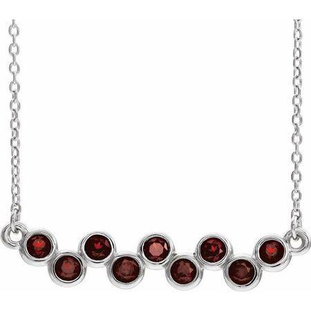 Red Garnet Necklace in 14 Karat White Gold Mozambique Garnet Bezel-Set Bar 16-18