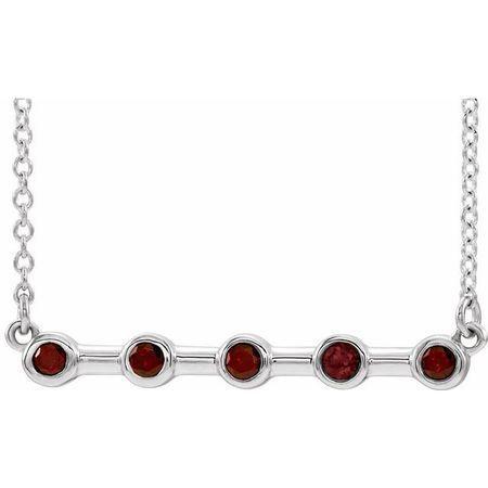 Red Garnet Necklace in 14 Karat White Gold Mozambique Garnet Bezel-Set Bar 18