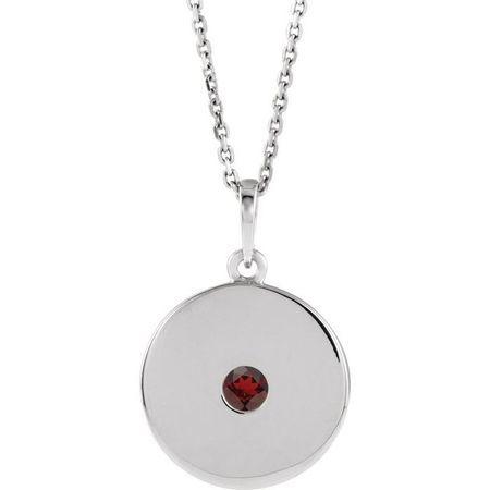 Red Garnet Necklace in 14 Karat White Gold Mozambique Garnet Disc 16-18