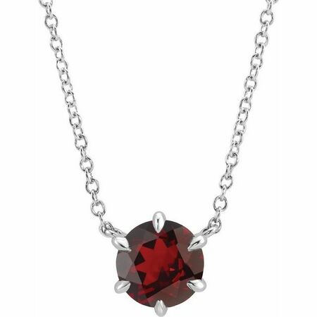 Red Garnet Necklace in 14 Karat White Gold Mozambique Garnet Solitaire 18