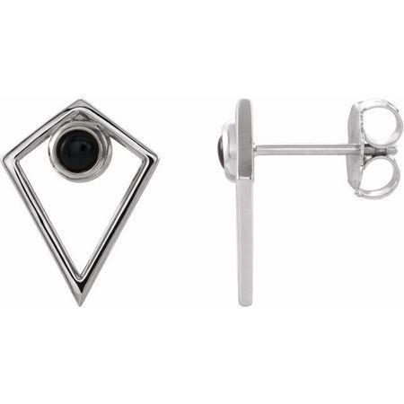 Black Black Onyx Earrings in 14 Karat White Gold Onyx Cabochon Pyramid Earrings