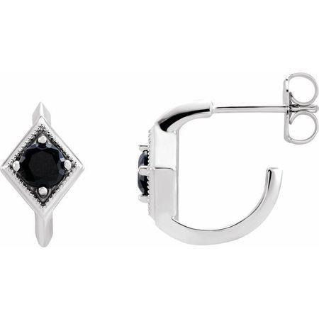 Black Black Onyx Earrings in 14 Karat White Gold Onyx Geometric Hoop Earrings