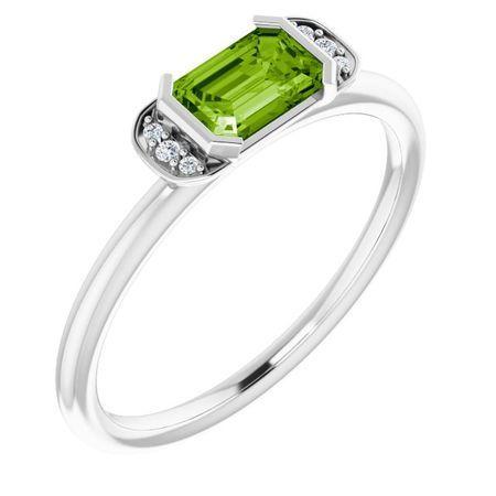 Genuine Peridot Ring in 14 Karat White Gold Peridot & .02 Carat Diamond Stackable Ring