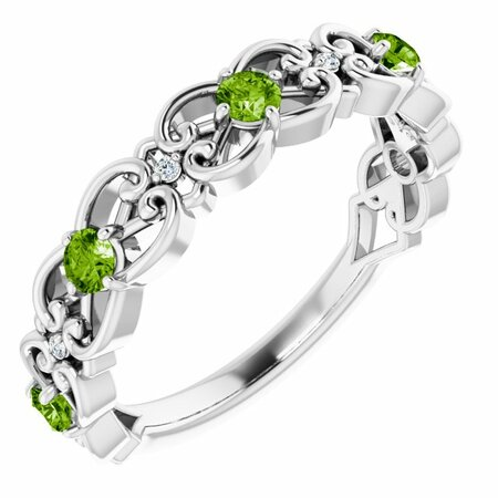 Genuine Peridot Ring in 14 Karat White Gold Peridot & .02 Carat Diamond Vintage-Inspired Scroll Ring