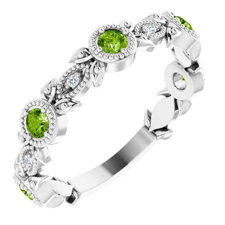 Genuine Peridot Ring in 14 Karat White Gold Peridot & .03 Carat Diamond Leaf Ring