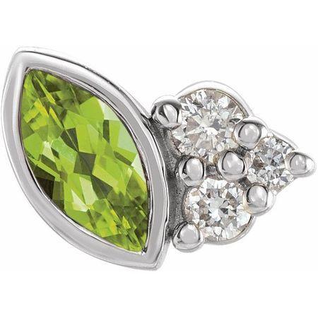 14 Karat White Gold Peridot & .03 Carat Weight Diamond Left Earring