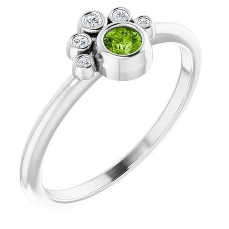 Genuine Peridot Ring in 14 Karat White Gold Peridot & .04 Carat Diamond Ring