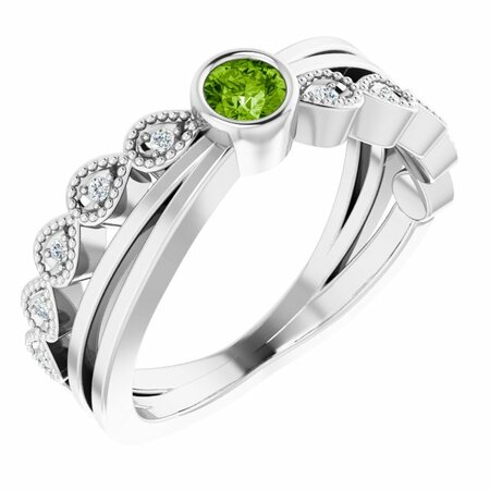 Genuine Peridot Ring in 14 Karat White Gold Peridot & .05 Carat Diamond Ring