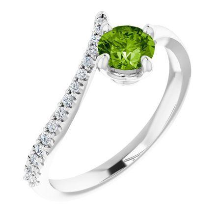 Genuine Peridot Ring in 14 Karat White Gold Peridot & 1/10 Carat Diamond Bypass Ring