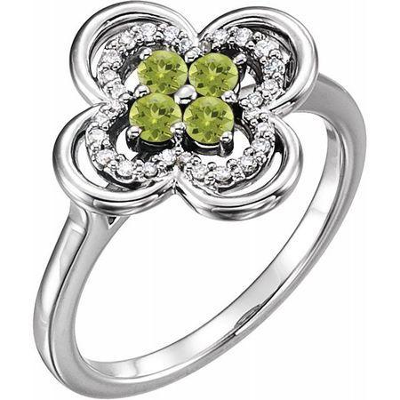 Genuine Peridot Ring in 14 Karat White Gold Peridot & 1/10 Carat Diamond Ring