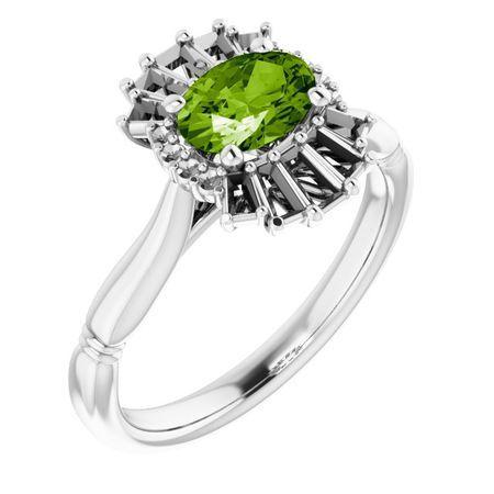 Genuine Peridot Ring in 14 Karat White Gold Peridot & 1/4 Carat Diamond Ring