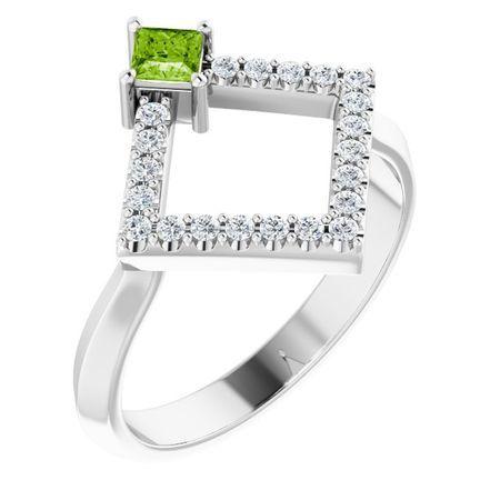 Genuine Peridot Ring in 14 Karat White Gold Peridot & 1/5 Carat Diamond Geometric Ring