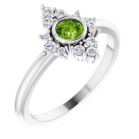 Genuine Peridot Ring in 14 Karat White Gold Peridot & 1/5 Carat Diamond Ring