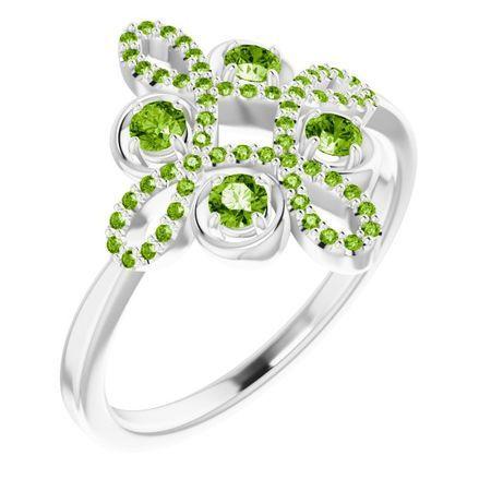 Genuine Peridot Ring in 14 Karat White Gold Peridot & 1/6 Carat Diamond Clover Ring