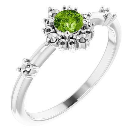 Genuine Peridot Ring in 14 Karat White Gold Peridot & 1/6 Carat Diamond Ring