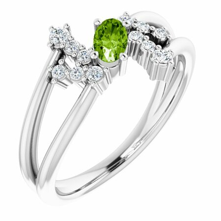 Genuine Peridot Ring in 14 Karat White Gold Peridot & 1/8 Carat Diamond Bypass Ring