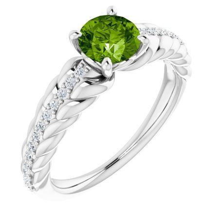 Genuine Peridot Ring in 14 Karat White Gold Peridot & 1/8 Carat Diamond Ring