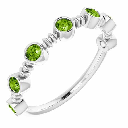 Genuine Peridot Ring in 14 Karat White Gold Peridot Bezel-Set Ring
