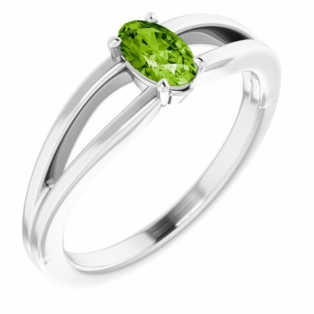 Genuine Peridot Ring in 14 Karat White Gold Peridot Solitaire Youth Ring