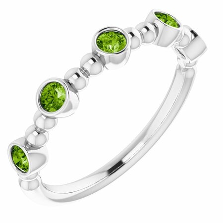 Genuine Peridot Ring in 14 Karat White Gold Peridot Stackable Beaded Ring