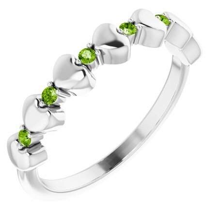 Genuine Peridot Ring in 14 Karat White Gold Peridot Stackable Heart Ring