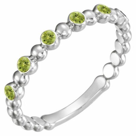 Genuine Peridot Ring in 14 Karat White Gold Peridot Stackable Ring