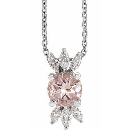 Pink Morganite Necklace in 14 Karat White Gold Pink Morganite & 1/4 Carat Diamond 16-18