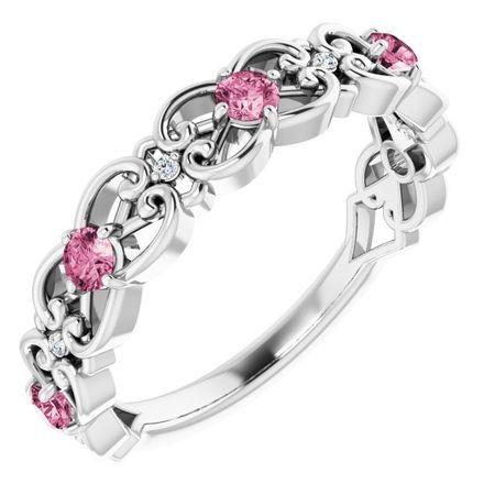 Pink Tourmaline Ring in 14 Karat White Gold Pink Tourmaline & .02 Carat Diamond Vintage-Inspired Scroll Ring