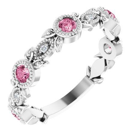 Pink Tourmaline Ring in 14 Karat White Gold Pink Tourmaline & .03 Carat Diamond Leaf Ring