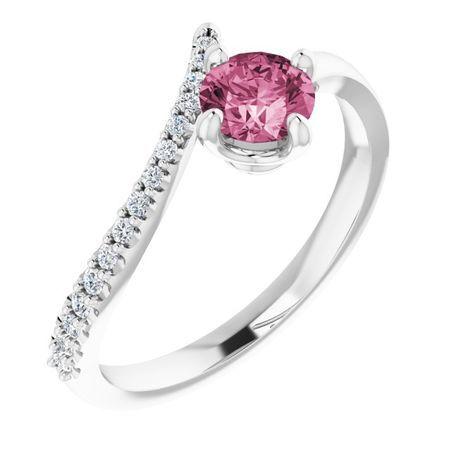 Pink Tourmaline Ring in 14 Karat White Gold Pink Tourmaline & 1/10 Carat Diamond Bypass Ring