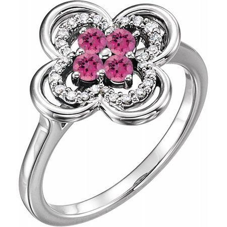 Pink Tourmaline Ring in 14 Karat White Gold Pink Tourmaline & 1/10 Carat Diamond Ring