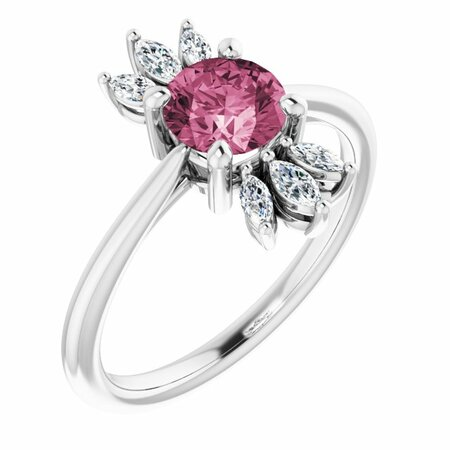 Pink Tourmaline Ring in 14 Karat White Gold Pink Tourmaline & 1/4 Carat Diamond Ring
