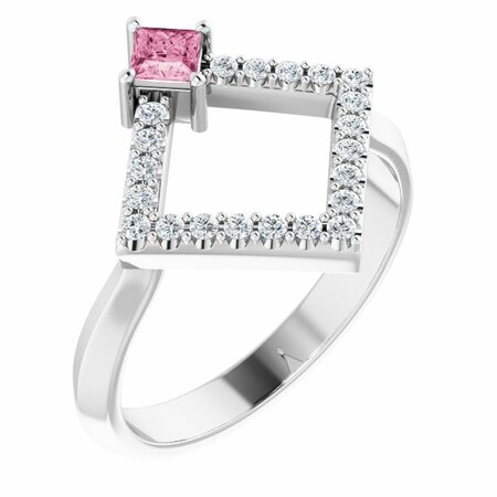 Pink Tourmaline Ring in 14 Karat White Gold Pink Tourmaline & 1/5 Carat Diamond Geometric Ring