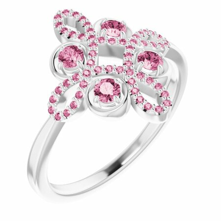 Pink Tourmaline Ring in 14 Karat White Gold Pink Tourmaline & 1/6 Carat Diamond Clover Ring