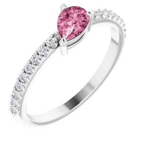 Pink Tourmaline Ring in 14 Karat White Gold Pink Tourmaline & 1/6 Carat Diamond Ring