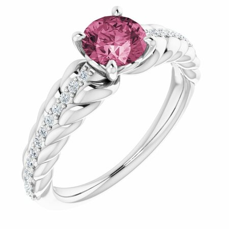 Pink Tourmaline Ring in 14 Karat White Gold Pink Tourmaline & 1/8 Carat Diamond Ring