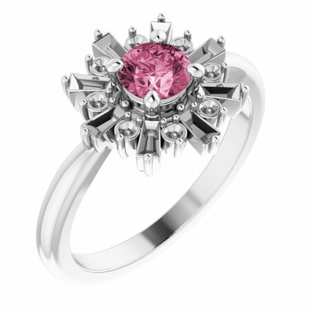 Pink Tourmaline Ring in 14 Karat White Gold Pink Tourmaline & 3/8 Carat Ring